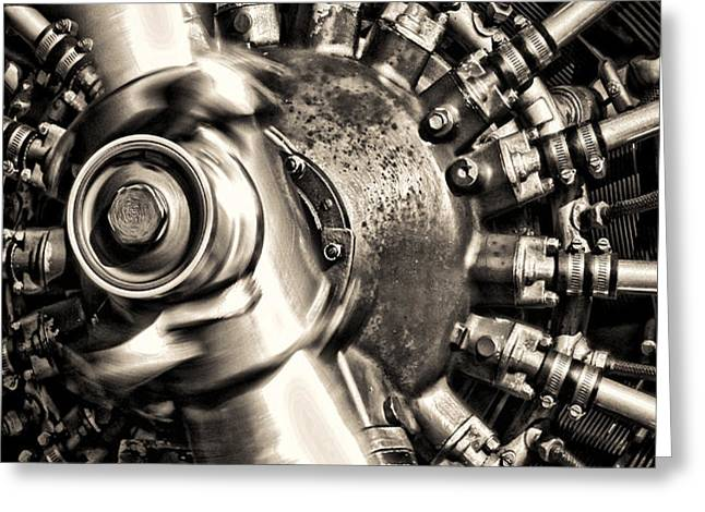 Antique Plane Engine Greeting Card by Olivier Le Queinec