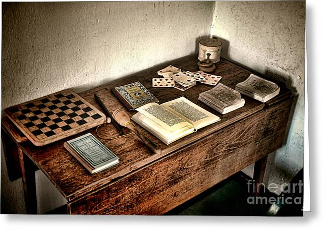 Checkerboard Greeting Cards - Antique Play Desk Greeting Card by Olivier Le Queinec