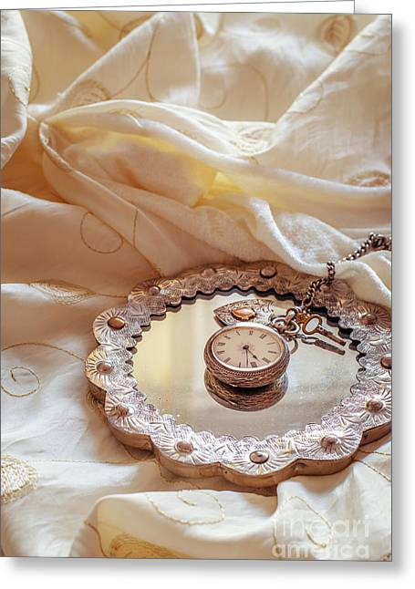 Glass Reflecting Greeting Cards - Antique Pocket Watch Greeting Card by Amanda And Christopher Elwell