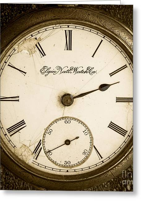 Watches Greeting Cards - Antique Pocket Watch Greeting Card by Edward Fielding