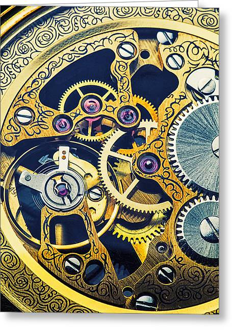 Timepieces Greeting Cards - Antique pocket watch gears Greeting Card by Garry Gay