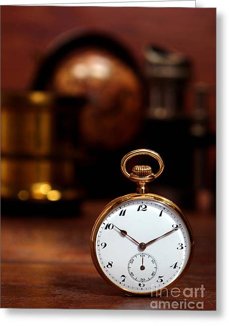 Pocket Watch Greeting Cards - Antique Pocket Watch Greeting Card by Olivier Le Queinec