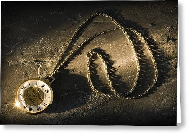 Family Time Greeting Cards - Antique Pocket Watch On Chain Greeting Card by Corey Hochachka