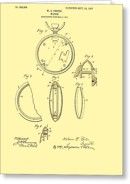 1907 Drawings Greeting Cards - Antique Pocket Watch Patent 1907 Greeting Card by Mountain Dreams