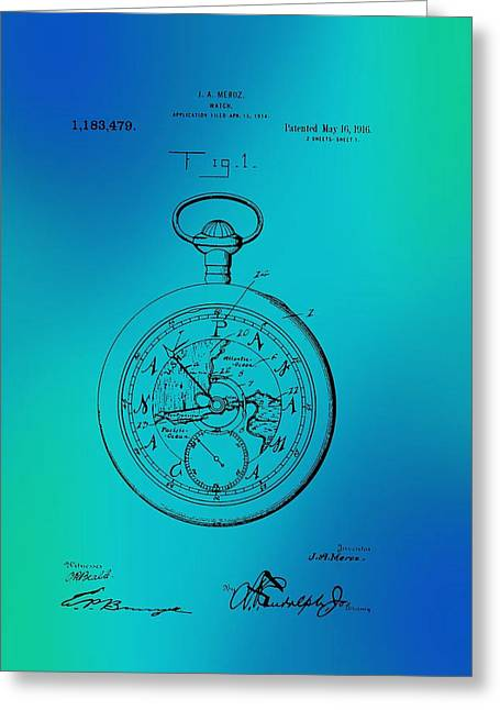 1916 Drawings Greeting Cards - Antique Pocket Watch Patent Greeting Card by Mountain Dreams