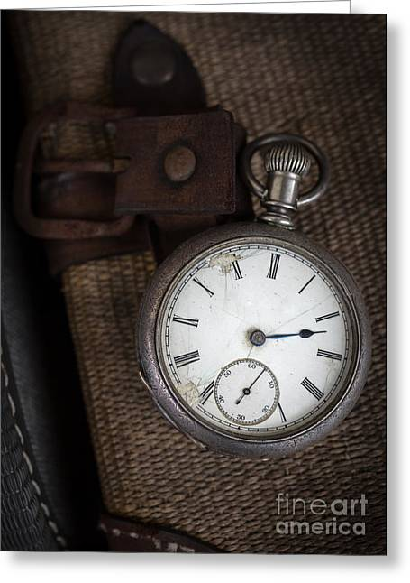 Watches Greeting Cards - Antique Pocket Watch Traveler Greeting Card by Edward Fielding