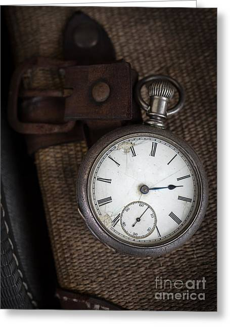 Antique Pocket Watch Traveler Greeting Card by Edward Fielding