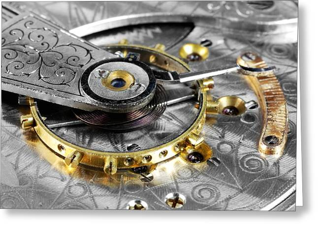 Mechanism Greeting Cards - Antique Pocketwatch Balance Wheel Greeting Card by Jim Hughes
