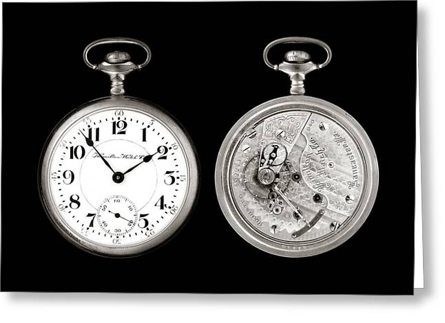 Retro Antique Photographs Greeting Cards - Antique Pocketwatch Greeting Card by Jim Hughes