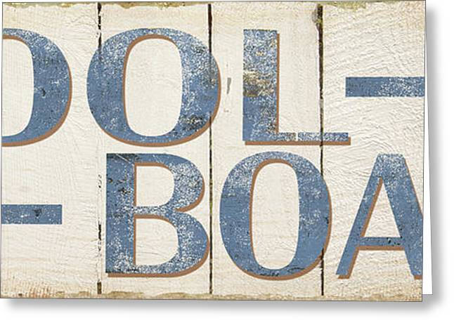 Primitive Greeting Cards - Antique Pool Boat Sign Greeting Card by Grace Pullen