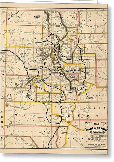 Rio Grande Greeting Cards - Antique Railroad Map of Colorado and New Mexico by S. W. Eccles - 1881 Greeting Card by Blue Monocle