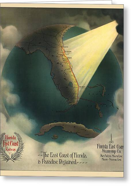 Antique Railroad Map Of Florida By J. P. Beckwith - 1898 Greeting Card by Blue Monocle