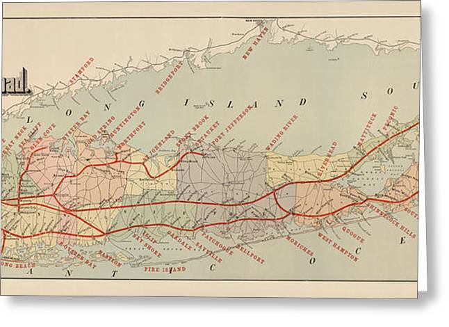 Antique Railroad Map Of Long Island By The American Bank Note Company - Circa 1895 Greeting Card by Blue Monocle