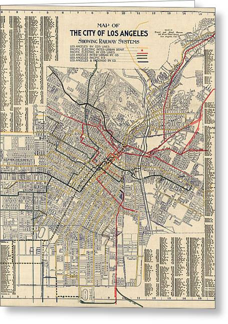 Los Angeles Drawings Greeting Cards - Antique Railroad Map of Los Angeles - 1906 Greeting Card by Blue Monocle