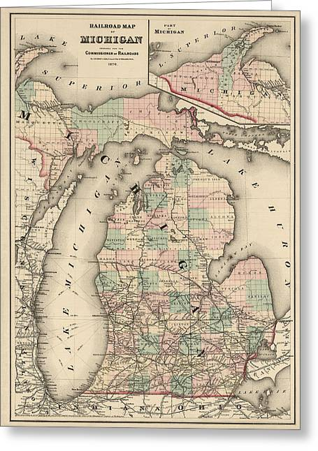 Lake Michigan Greeting Cards - Antique Railroad Map of Michigan by Colton and Co. - 1876 Greeting Card by Blue Monocle