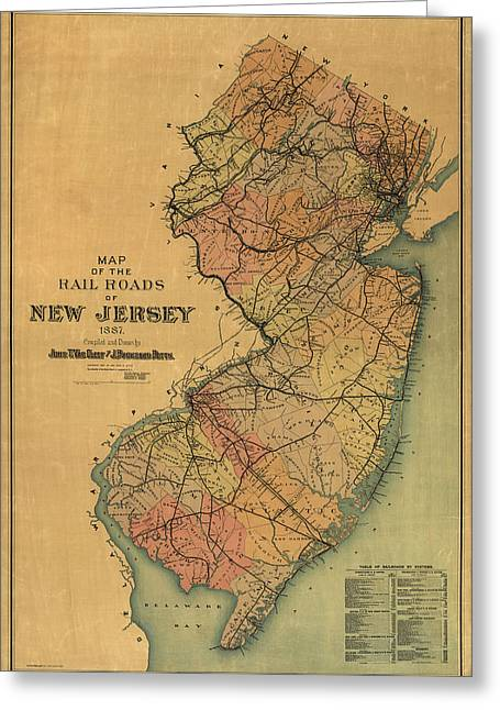 Old And New Greeting Cards - Antique Railroad Map of New Jersey by Van Cleef and Betts - 1887 Greeting Card by Blue Monocle