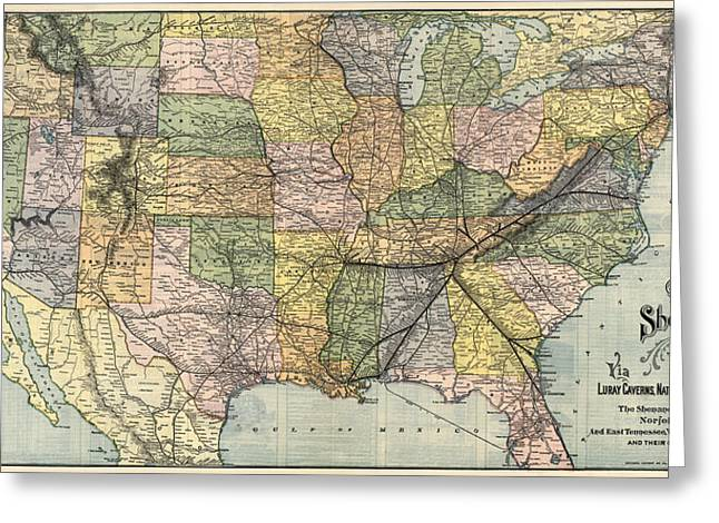 United States Drawings Greeting Cards - Antique Railroad Map of the United States - 1890 Greeting Card by Blue Monocle