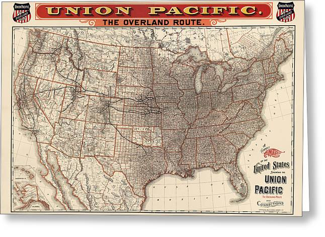 Pacific Greeting Cards - Antique Railroad Map of the United States - Union Pacific - 1892 Greeting Card by Blue Monocle