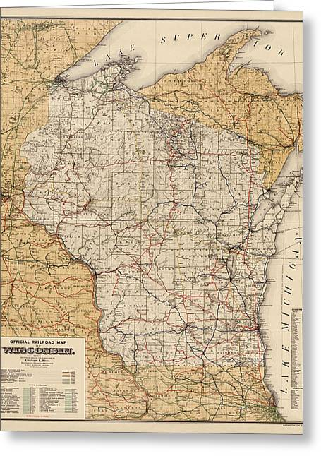 Wisconsin Art Greeting Cards - Antique Railroad Map of Wisconsin - 1900 Greeting Card by Blue Monocle