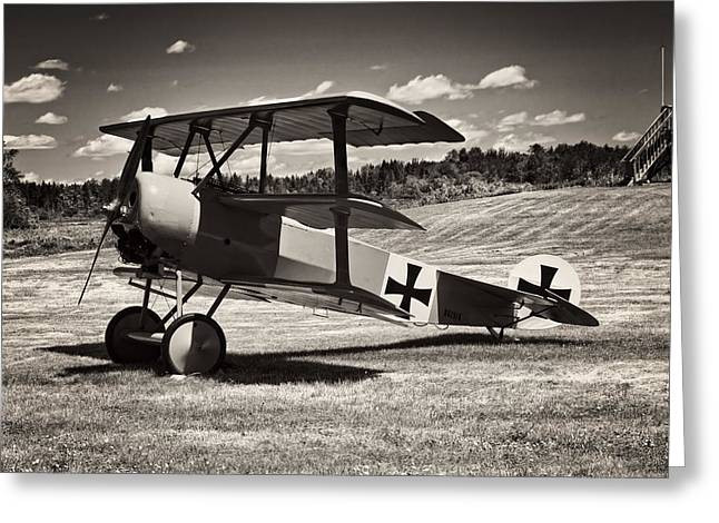 Airfield Greeting Cards - Antique Red Barron Fokker Dr.1 Triplane Greeting Card by Keith Webber Jr