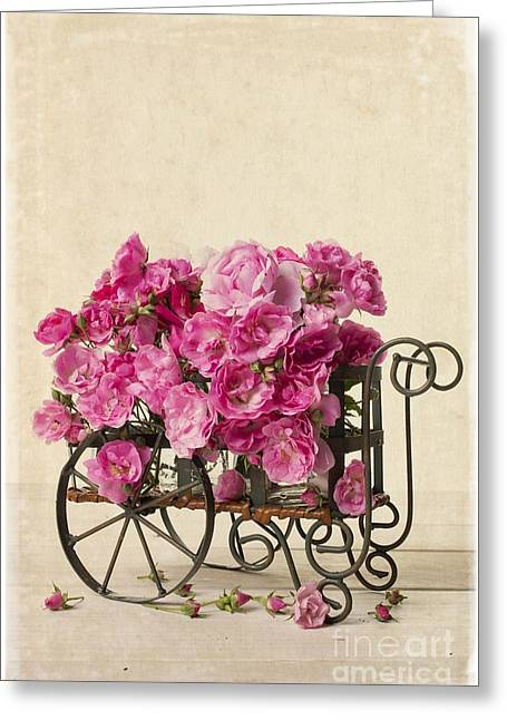Old Wagon Greeting Cards - Antique Rose Cart Greeting Card by Edward Fielding