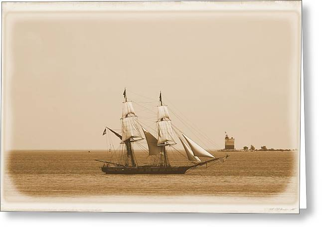 Mackinaw City Greeting Cards - Antique Sailing Ship And Lighthouse Greeting Card by Dan Sproul