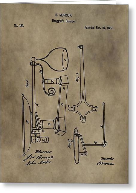 Druggist Greeting Cards - Antique Scale Patent Greeting Card by Dan Sproul