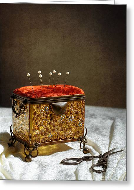 Pin Cushion Greeting Cards - Antique Sewing Casket Greeting Card by Amanda And Christopher Elwell
