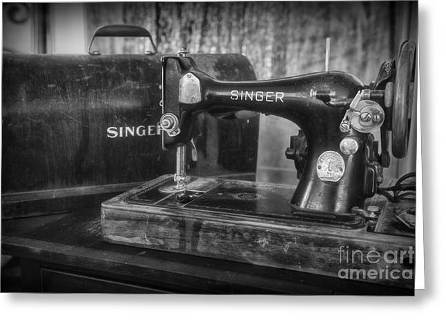 Sewing Hobby Greeting Cards - Antique Sewing Machine in Black and White Greeting Card by Paul Ward