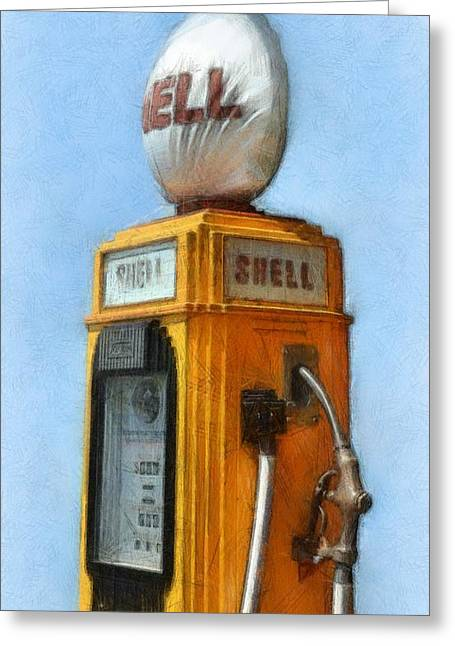 Nostalgia Digital Greeting Cards - Antique Shell Gas Pump Greeting Card by Michelle Calkins