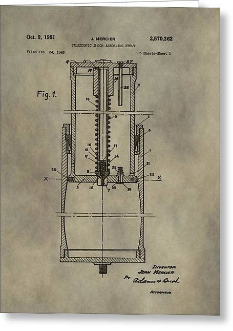 Mechanics Mixed Media Greeting Cards - Antique Shock Absorber Patent Greeting Card by Dan Sproul