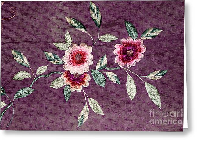Vintage Parts Greeting Cards - Antique Silk Embroidery Greeting Card by Charline Xia