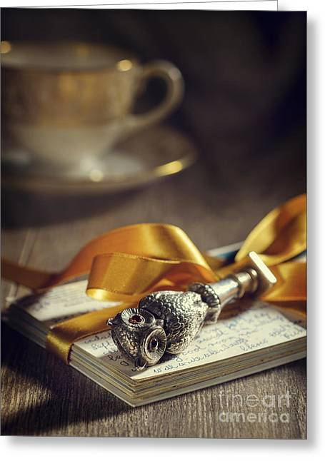 Antique Table Greeting Cards - Antique Silver Owl Seal Greeting Card by Amanda And Christopher Elwell