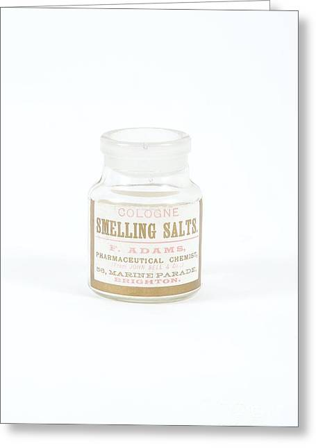 Glass Bottle Greeting Cards - Antique Smelling Salts Bottle Greeting Card by Gregory Davies / Medinet Photographics