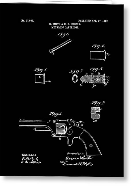 Pistol Drawings Greeting Cards - Antique Smith and Wesson Patent for a Metallic Cartridge 1860 Greeting Card by Mountain Dreams