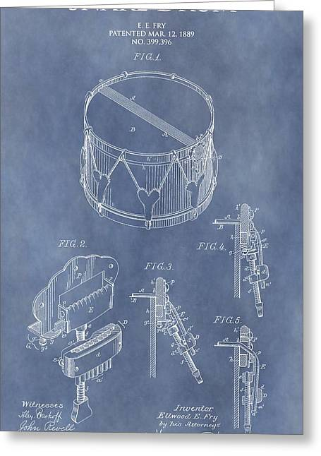 Drum Kit Greeting Cards - Antique Snare Drum Patent Greeting Card by Dan Sproul