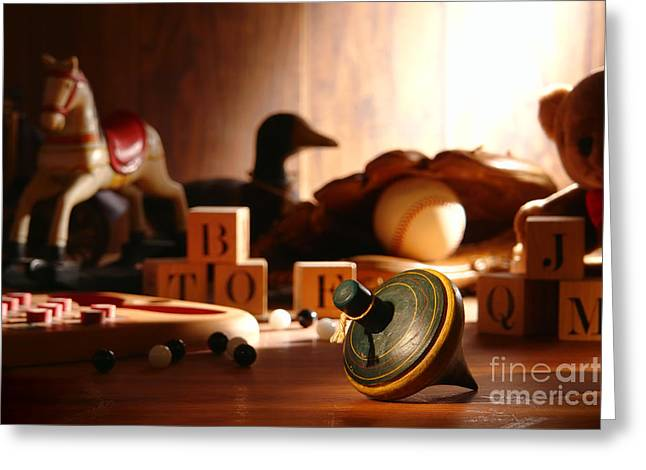 Antique Spinning Top Greeting Card by Olivier Le Queinec