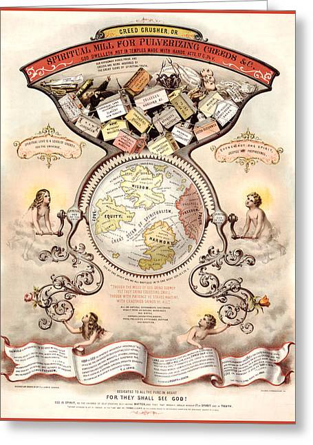 Antique Digital Greeting Cards - Antique Spiritualism Map Greeting Card by Gary Grayson