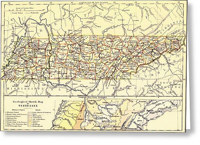Tennessee Drawings Greeting Cards - Antique State of Tennessee Map 1888 Greeting Card by Mountain Dreams
