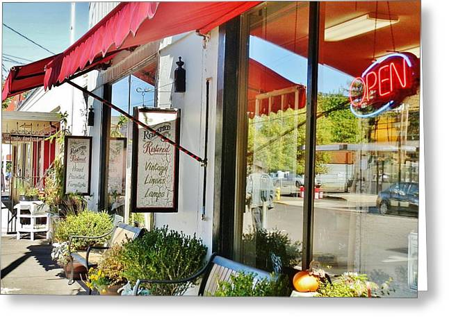 Store Fronts Greeting Cards - Antique Store front Greeting Card by VLee Watson