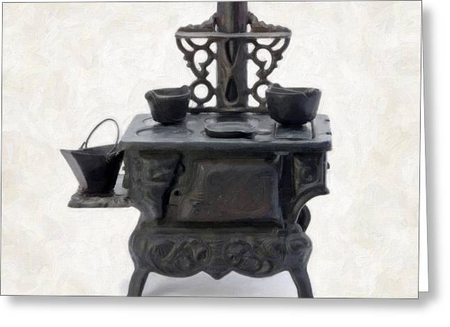 Old Objects Paintings Greeting Cards - Antique Stove Greeting Card by Danny Smythe