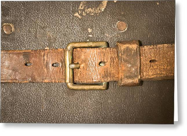 Leather Belt Greeting Cards - Antique strap Greeting Card by Tom Gowanlock