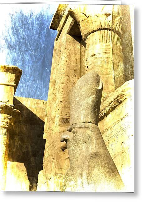Hathor Greeting Cards - Antique Study of Horus Greeting Card by Brenda Kean
