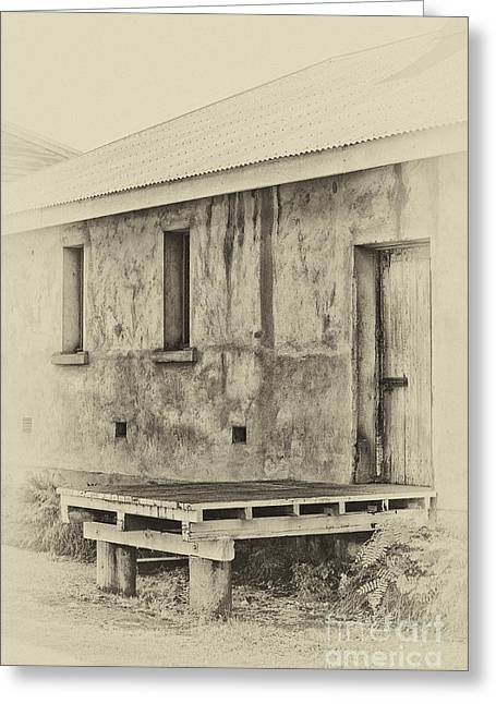 Wooden Platform Greeting Cards - Antique style loading dock Greeting Card by Wendy Townrow