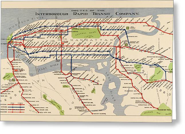 Rapids Greeting Cards - Antique Subway Map of New York City - 1924 Greeting Card by Blue Monocle