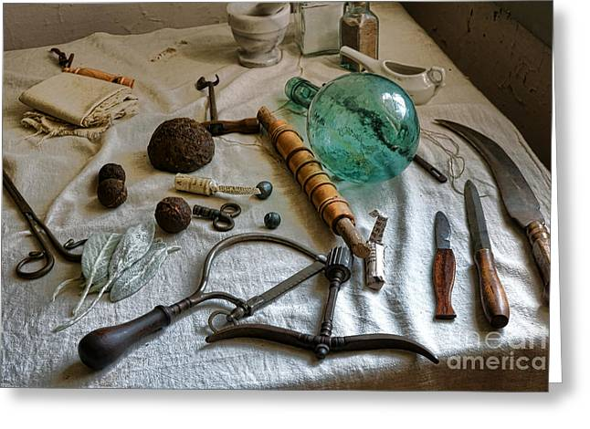 Cloth Greeting Cards - Antique Surgery Tools Greeting Card by Olivier Le Queinec
