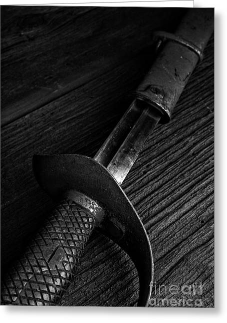 Sword Greeting Cards - Antique Sword Black and White Greeting Card by Edward Fielding