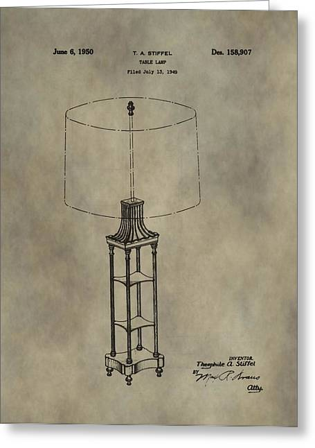 Antique Table Lamp Patent Greeting Card by Dan Sproul