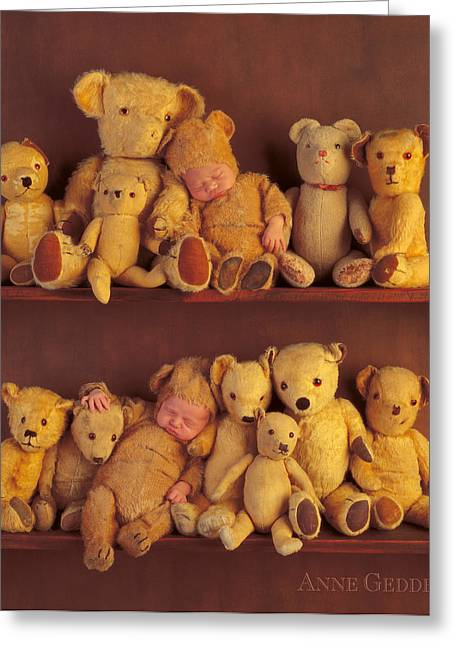 Toy Greeting Cards - Antique Teddies Greeting Card by Anne Geddes