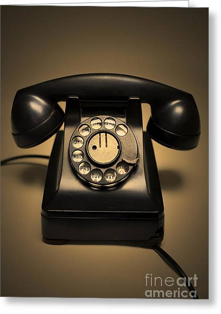 Antique Photography Greeting Cards - Antique Telephone Greeting Card by Diane Diederich